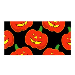 Halloween Party Pumpkins Face Smile Ghost Orange Black Satin Wrap by Alisyart