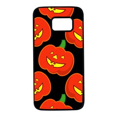 Halloween Party Pumpkins Face Smile Ghost Orange Black Samsung Galaxy S7 Black Seamless Case by Alisyart