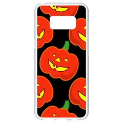 Halloween Party Pumpkins Face Smile Ghost Orange Black Samsung Galaxy S8 White Seamless Case by Alisyart