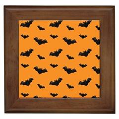 Halloween Bat Animals Night Orange Framed Tiles by Alisyart