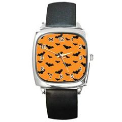 Halloween Bat Animals Night Orange Square Metal Watch by Alisyart