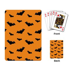 Halloween Bat Animals Night Orange Playing Card by Alisyart