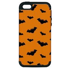 Halloween Bat Animals Night Orange Apple Iphone 5 Hardshell Case (pc+silicone) by Alisyart