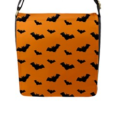 Halloween Bat Animals Night Orange Flap Messenger Bag (l)  by Alisyart