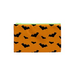 Halloween Bat Animals Night Orange Cosmetic Bag (xs) by Alisyart