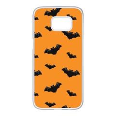 Halloween Bat Animals Night Orange Samsung Galaxy S7 Edge White Seamless Case by Alisyart
