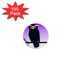 Halloween Owl Bird Animals Night 1  Mini Buttons (100 Pack)  by Alisyart