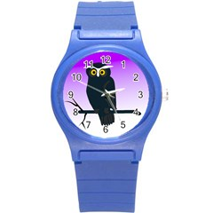 Halloween Owl Bird Animals Night Round Plastic Sport Watch (s) by Alisyart