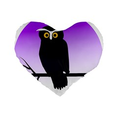 Halloween Owl Bird Animals Night Standard 16  Premium Flano Heart Shape Cushions by Alisyart