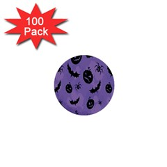 Halloween Pumpkin Bat Spider Purple Black Ghost Smile 1  Mini Buttons (100 Pack)  by Alisyart