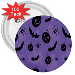 Halloween Pumpkin Bat Spider Purple Black Ghost Smile 3  Buttons (100 Pack)  by Alisyart
