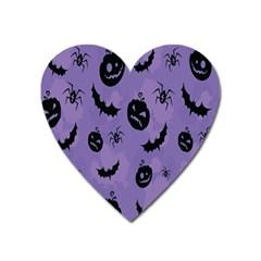 Halloween Pumpkin Bat Spider Purple Black Ghost Smile Heart Magnet by Alisyart