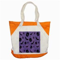 Halloween Pumpkin Bat Spider Purple Black Ghost Smile Accent Tote Bag