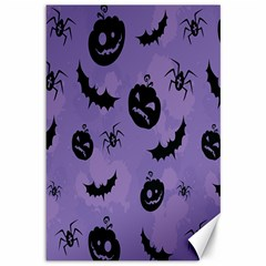 Halloween Pumpkin Bat Spider Purple Black Ghost Smile Canvas 12  X 18   by Alisyart