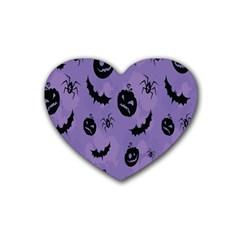 Halloween Pumpkin Bat Spider Purple Black Ghost Smile Rubber Coaster (heart)  by Alisyart