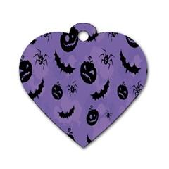 Halloween Pumpkin Bat Spider Purple Black Ghost Smile Dog Tag Heart (one Side) by Alisyart