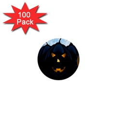 Halloween Pumpkin Dark Face Mask Smile Ghost Night 1  Mini Buttons (100 Pack)  by Alisyart