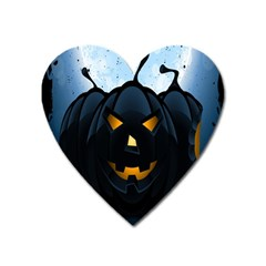Halloween Pumpkin Dark Face Mask Smile Ghost Night Heart Magnet by Alisyart