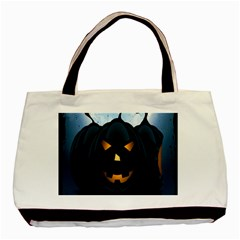 Halloween Pumpkin Dark Face Mask Smile Ghost Night Basic Tote Bag by Alisyart