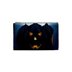 Halloween Pumpkin Dark Face Mask Smile Ghost Night Cosmetic Bag (small)  by Alisyart