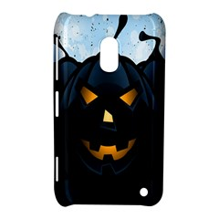 Halloween Pumpkin Dark Face Mask Smile Ghost Night Nokia Lumia 620 by Alisyart