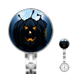 Halloween Pumpkin Dark Face Mask Smile Ghost Night Stainless Steel Nurses Watch by Alisyart