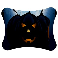 Halloween Pumpkin Dark Face Mask Smile Ghost Night Jigsaw Puzzle Photo Stand (bow) by Alisyart