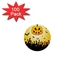 Halloween Pumpkin Bat Party Night Ghost 1  Mini Buttons (100 Pack)  by Alisyart