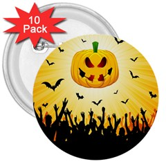 Halloween Pumpkin Bat Party Night Ghost 3  Buttons (10 Pack)  by Alisyart