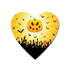 Halloween Pumpkin Bat Party Night Ghost Heart Magnet by Alisyart