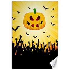 Halloween Pumpkin Bat Party Night Ghost Canvas 12  X 18   by Alisyart