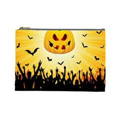 Halloween Pumpkin Bat Party Night Ghost Cosmetic Bag (large)  by Alisyart
