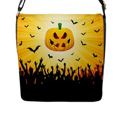 Halloween Pumpkin Bat Party Night Ghost Flap Messenger Bag (l)  by Alisyart