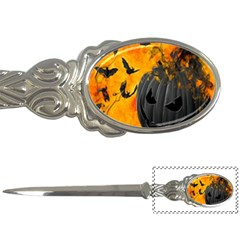 Halloween Pumpkin Bat Ghost Orange Black Smile Letter Openers by Alisyart