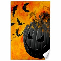 Halloween Pumpkin Bat Ghost Orange Black Smile Canvas 24  X 36  by Alisyart
