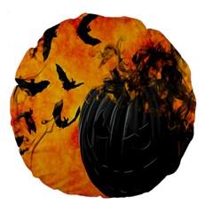 Halloween Pumpkin Bat Ghost Orange Black Smile Large 18  Premium Round Cushions by Alisyart