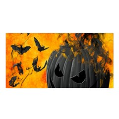 Halloween Pumpkin Bat Ghost Orange Black Smile Satin Shawl by Alisyart
