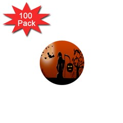 Halloween Sinister Night Moon Bats 1  Mini Buttons (100 Pack)  by Alisyart