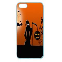 Halloween Sinister Night Moon Bats Apple Seamless Iphone 5 Case (color) by Alisyart