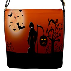 Halloween Sinister Night Moon Bats Flap Messenger Bag (s) by Alisyart