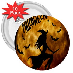 Halloween Wicked Witch Bat Moon Night 3  Buttons (10 Pack)