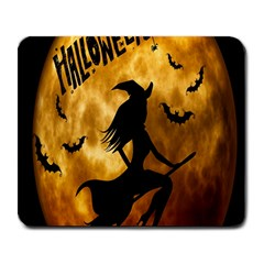Halloween Wicked Witch Bat Moon Night Large Mousepads by Alisyart