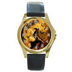 Halloween Wicked Witch Bat Moon Night Round Gold Metal Watch by Alisyart