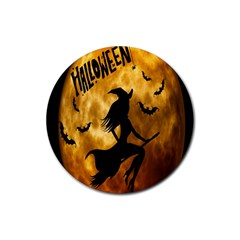 Halloween Wicked Witch Bat Moon Night Rubber Coaster (round)  by Alisyart