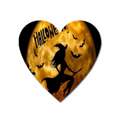 Halloween Wicked Witch Bat Moon Night Heart Magnet by Alisyart