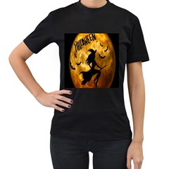 Halloween Wicked Witch Bat Moon Night Women s T Shirt (black) by Alisyart