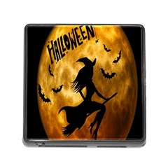 Halloween Wicked Witch Bat Moon Night Memory Card Reader (square) by Alisyart