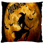 Halloween Wicked Witch Bat Moon Night Large Cushion Case (Two Sides) Front