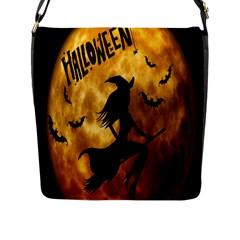 Halloween Wicked Witch Bat Moon Night Flap Messenger Bag (l)  by Alisyart
