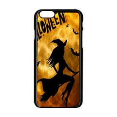 Halloween Wicked Witch Bat Moon Night Apple Iphone 6/6s Black Enamel Case by Alisyart